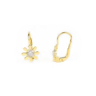 Orecchini monachella margherita oro giallo tit 750 (18 kt), fiore margherita al centro in oro bianco puntinato e petali in oro giallo lucidi