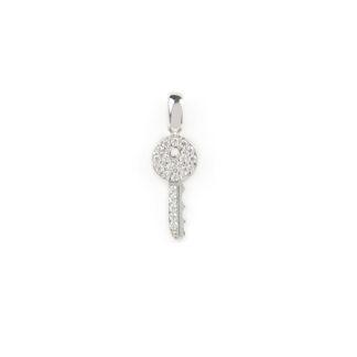 Ciondolo chiave con zirconi, ciondolo donna in oro bianco tit 750 (18 kt) chiave con zirconi; dimensione 2,20 x 0,74 cm