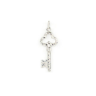 Ciondolo chiave diamantata oro bianco tit 750 (18 kt) chiave double face con un lato diamantato e un lato lucido; dimensione 3,70 x 1,20 cm