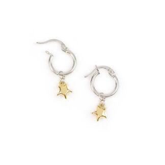 Orecchini cerchio stella oro giallo, orecchini cerchio in oro bianco tit 750 (18 kt) con ciondolo rimovibile stella bombata in oro giallo