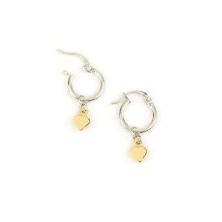 Orecchini cerchio oro bianco cuore, orecchini cerchio in oro bianco tit 750 (18 kt) con ciondolo rimovibile cuore bombato in oro giallo