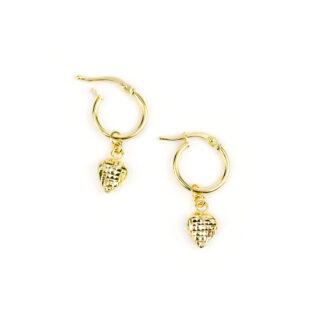 Cerchio oro giallo cuore, orecchini cerchio oro giallo tit 750 (18 kt) con ciondolo rimovibile cuore double face, diamantato e lucido
