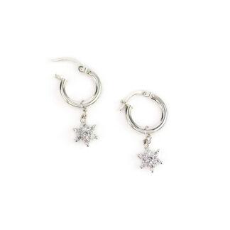 Orecchini cerchio stella zirconi, orecchini cerchio in oro bianco tit 750 (18 kt) con ciondolo rimovibile stella in oro bianco con zirconi